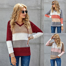Load image into Gallery viewer, Street Fashion Autumn and Winter Knitted Hoodie Sweater Women Wear Long-sleeved Blouse