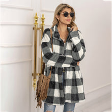 Load image into Gallery viewer, Autumn Winter Sweater Cardigan Amazon Hot Contrast Plaid Long Coat