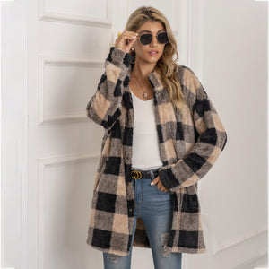 Autumn Winter Sweater Cardigan Amazon Hot Contrast Plaid Long Coat