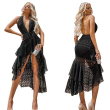 Load image into Gallery viewer, Women's dress Sexy deep V hanging neck back dress.
