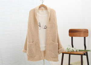 Casual Solid Color Knitted Long Cardigan