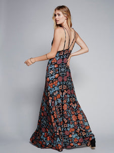 Deep V-NECK printed 4 colors Beach long dress