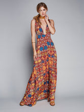 Load image into Gallery viewer, Deep V-NECK printed 4 colors Beach long dress