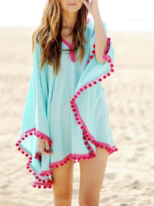 Simple Fashion with Tassels V Neck Beach Dress Mini Dress