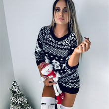 Load image into Gallery viewer, Knitted Sweater Women's Dress with Christmas Theme Knitted Long-sleeved Dress