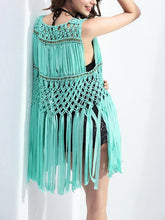 Load image into Gallery viewer, Elegant Wave Net Sleeveless with Tassels Cover-Up Tops