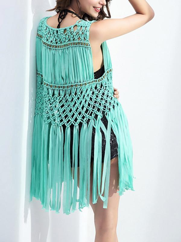 Elegant Wave Net Sleeveless with Tassels Cover-Up Tops