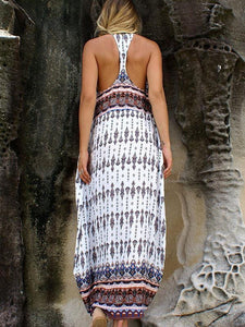 Sexy Chiffon Bohemia Floral Backless Front Split Maxi Dress