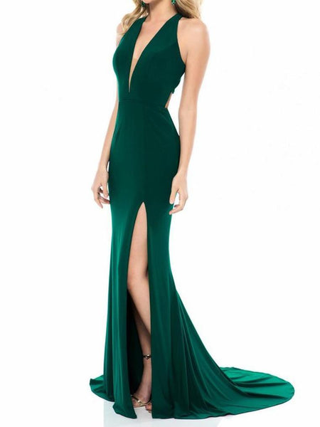 SEXY DEEP-V SLEEVELESS FULL-LENGTH DRESS EVENING DRESS