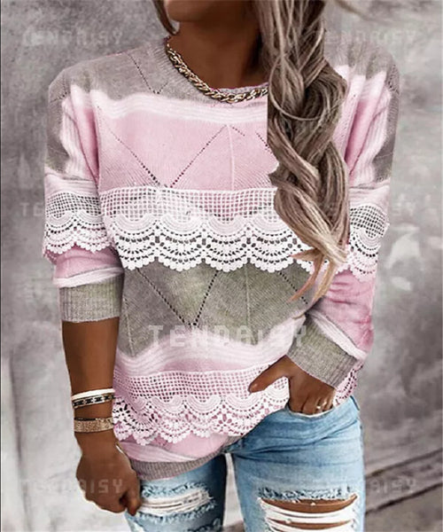 autumn and winter round neckline color block casual regular Decal sweater