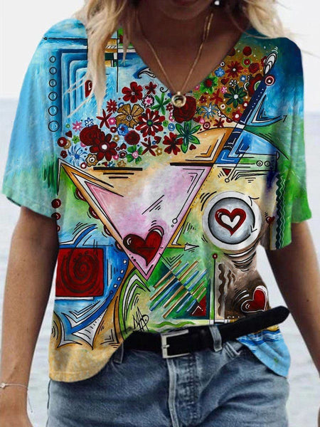 V-neck Abstract Painting Printed Short-sleeved T-shirt Female