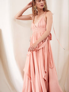 Loose Halter suspenders irregular hem long dress