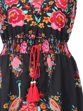 Load image into Gallery viewer, Beautiful Bohemia Floral-Print Cap Sleeve Deep V Neck Elastic Waist Maxi Dress