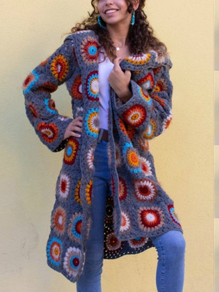 Bohemia Style Nepal Pattern Long Coat Fashion Autumn Winter Knitted Retro Cardigan Temperament Color Matching Hoodie