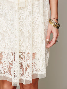 White Hollow lace dress transparent yarn dress