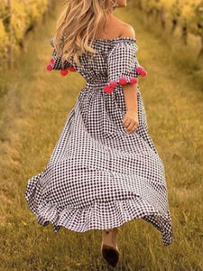 Bohemia Pompoms Knotted Checked Maxi Dress