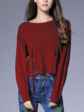 Load image into Gallery viewer, Brief Solid Color Drawstring Women Knited Sweaters
