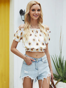 Short-sleeved Blouse with A Sunflower Print on The Side of The Shoulder and Navel