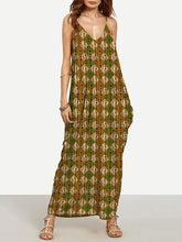 Load image into Gallery viewer, Special Gold Plaid Bohemia Spaghetti Straps V Neck Maxi Dress