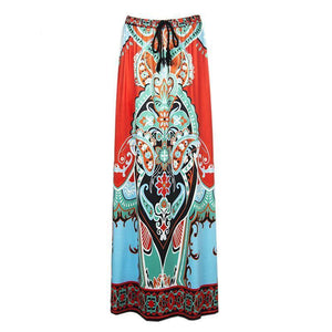 Boho Exotic Thailand Floral Printed Bust Skirt