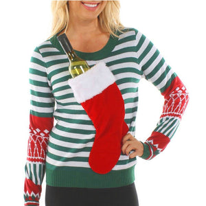 Fashion Christmas Sock Round Neck Sweater