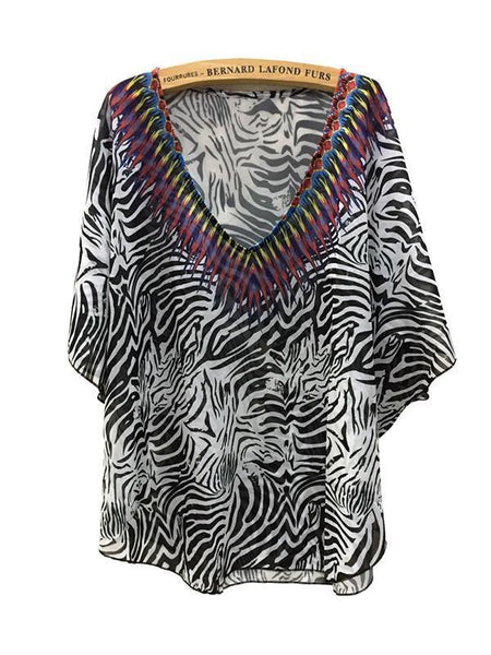 Fashion Black Stripe V Neck Shawl Cover-up Tops