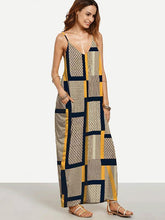 Load image into Gallery viewer, Unique Yellow Plaid Spaghetti Straps V Neck Maxi Dress