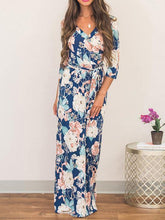 Load image into Gallery viewer, Pretty Blue Floral-Printed V-neck Raised Bands Bohemia Maxi Dress