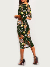 Load image into Gallery viewer, Pretty Floral Half Sleeve Round Neck Bodycon Maxi Dress
