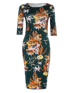 Pretty Floral Half Sleeve Round Neck Bodycon Maxi Dress