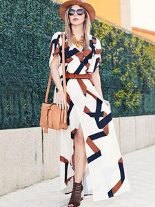 Fashion Printed Short Sleeves Deep V-neck Split-side Maxi Dress