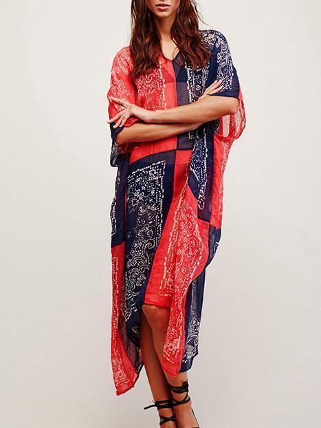 Chiffon Bohemia Red and Blue Maxi Beach Dress