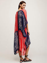 Load image into Gallery viewer, Chiffon Bohemia Red and Blue Maxi Beach Dress