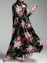 Load image into Gallery viewer, Autumn Rose Floral Long Sleeves Bohemia Maxi Dress With Scarf