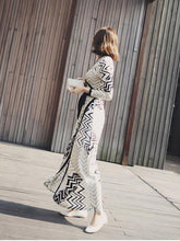 Load image into Gallery viewer, Classical Long Sleeve Deep V Neck Side Split Maxi Beach Dress