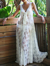 Load image into Gallery viewer, Sexy Lace Solid Color Sleeveless Beach Maxi Dress
