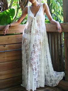 Sexy Lace Solid Color Sleeveless Beach Maxi Dress