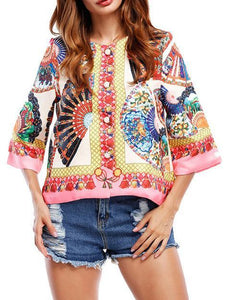 Bohemia Floral Printed Flared Sleeves Outwear Tops