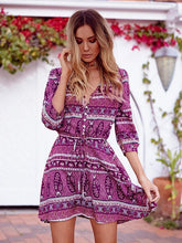Load image into Gallery viewer, Fashion Bohemia Floral with Buttons 3/4 Sleeve Mini Vacation Dress