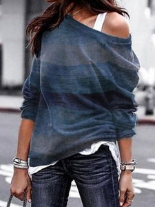 Loose Sloping Shoulder Long Sleeves Pullover Tops