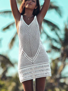 Bohemian Hand-Knitted Hollow Beach Cover-Up