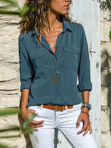 Casual Solid Color Long Sleeve Plain Button Pocket Blouses Tops
