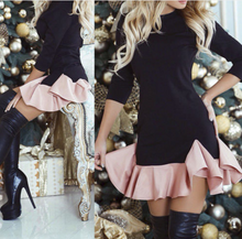 Load image into Gallery viewer, Sexy Ruffled Black Split-joint Round Neck Long Sleeve Mini Dress