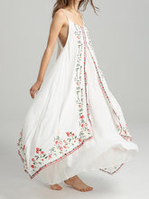 Load image into Gallery viewer, Spaghetti Strap Print Embroidered Bohemia Beach Maxi Dress