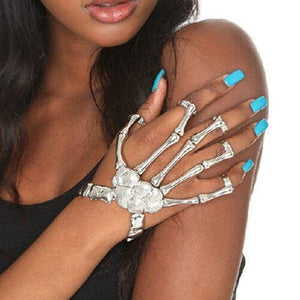 Exaggerated Metal Skeleton Skull Bracelet Ghost Claw with Finger Cuffs Halloween Accessories