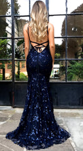 Load image into Gallery viewer, Sequin V Neck Spaghetti Strap Evening Party Dress
