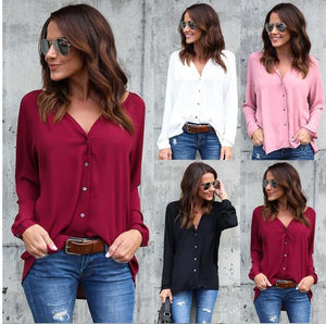 4 colors V-NECK Long Sleeve Solid color Women Shirt Cardigan