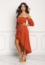 Load image into Gallery viewer, Sexy Strapless Backless Belted Irregular Beach Boho Maxi Dress