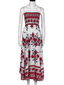 Beautiful White Floral Strapless Elastic Waist Front Split Bohemia Maxi Dress