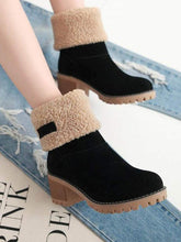 Load image into Gallery viewer, Brushed Thickness Solid Color Round Toe Flock Short Boots